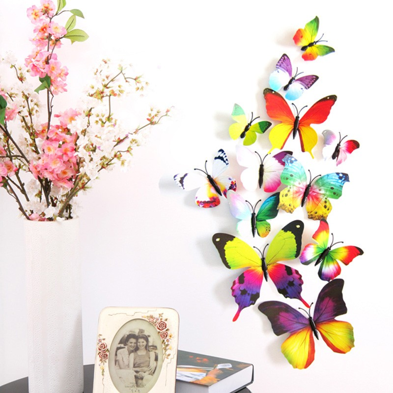 Magnet Butterflies 3D PVC Wall Sticker Home Decoration for Kids Rooms Wall Decoration 12Pcs