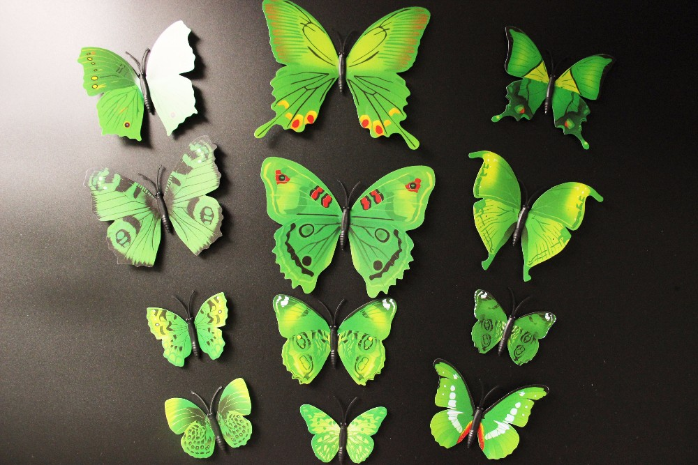 Lovely Pets Creative 3D Butterfly Wall Stickers Fridge Magnet For Wedding Home Decor New 12 Pcs