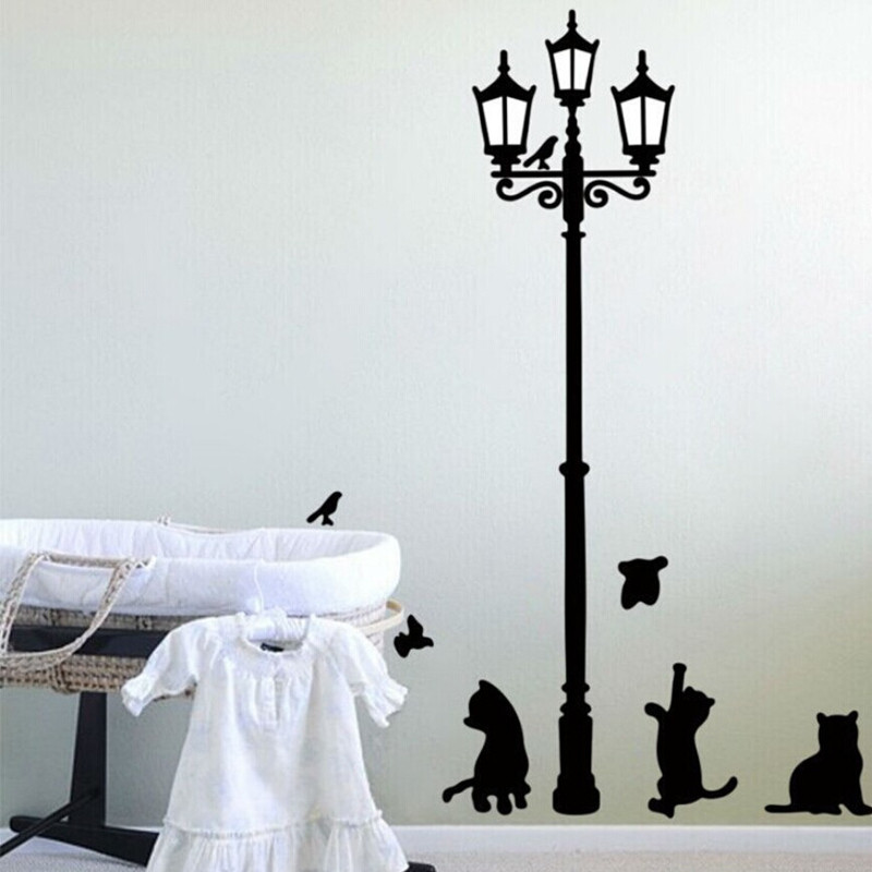 Ancient Lamp Cats and Birds Wall Sticker Wall Mural Home Decor Room Kids Decals Wallpaper