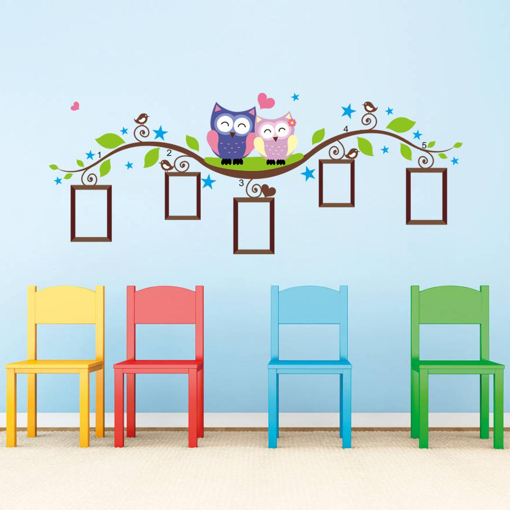Owls Photo Frame Wall Stickers Home Decoration Bedroom Wall Decals Mural Art Living Room