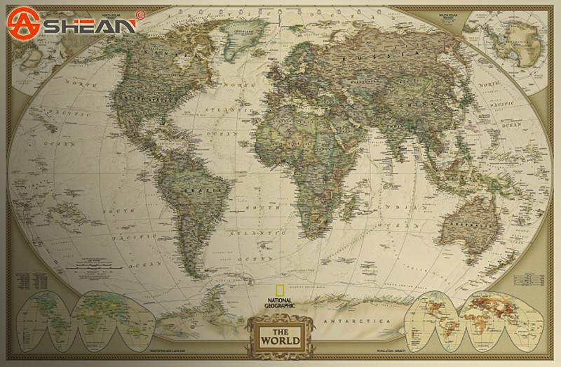 Vintage Retro Matte Kraft Paper World Map Antique Poster Wall Sticker Home Decor Size 72.5x47.5CM