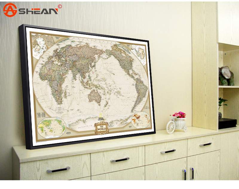 Vintage Retro Matte Kraft Paper World Map Antique Poster Wall Sticker Home Decor Size 72.5x47.5CM