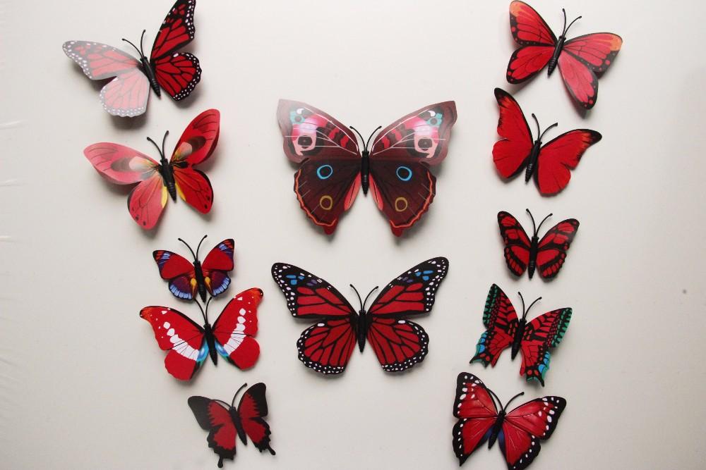 3D Wall Stickers Butterfly Fridge Magnet Wedding Photography 12pcs