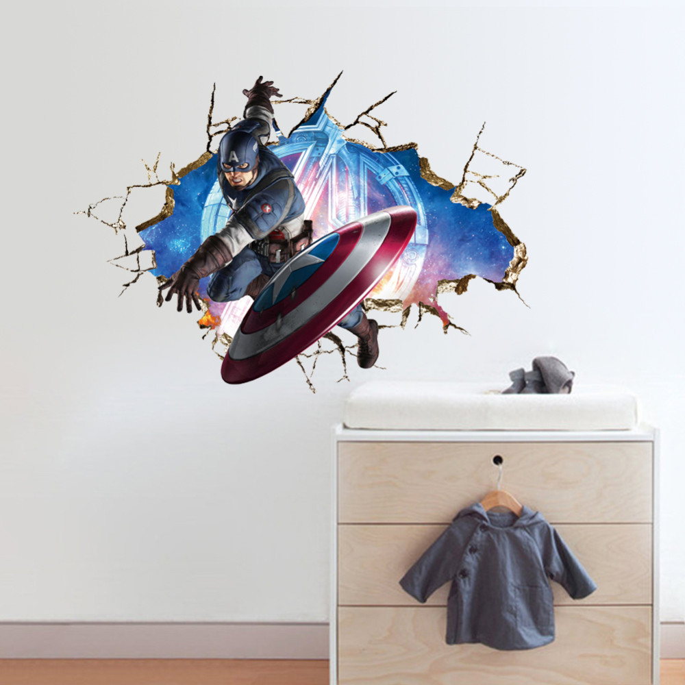 Avengers Captain America 3d Wall Stickers Wallpaper Decals