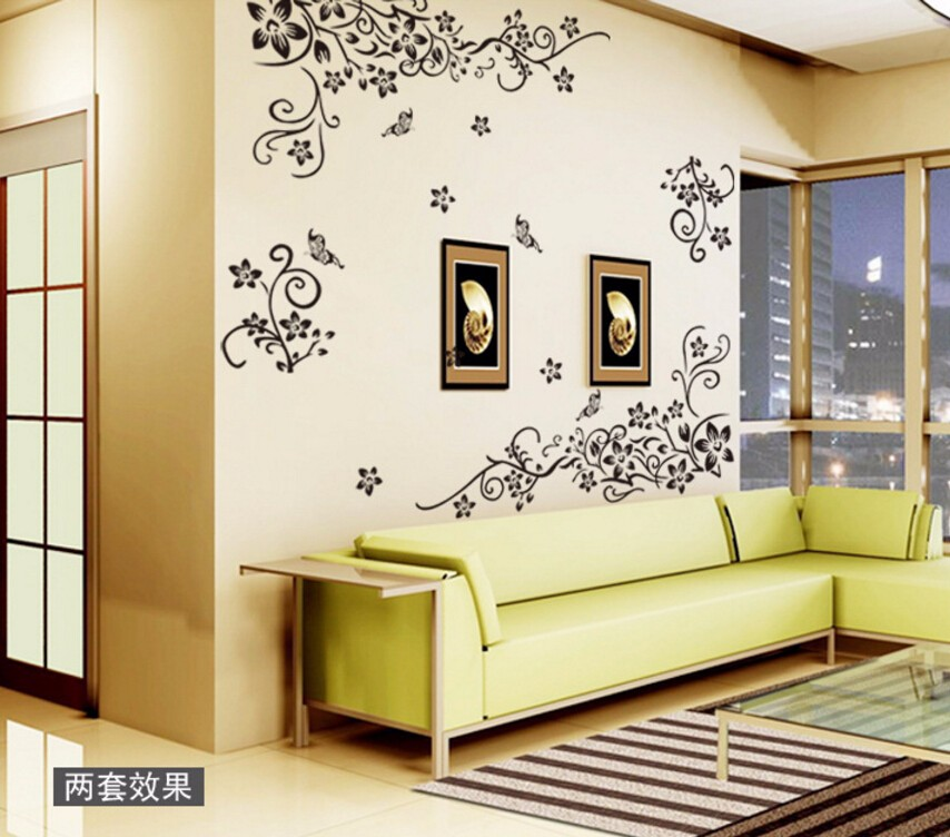 Romantic Fashion Flower Wall Stickers Wall Art Decal Decoration Home Decor