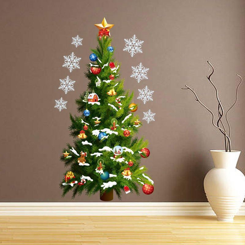 Green Christmas Tree Star Wall Stickers Christmas And New Year Removable Wall Stickers