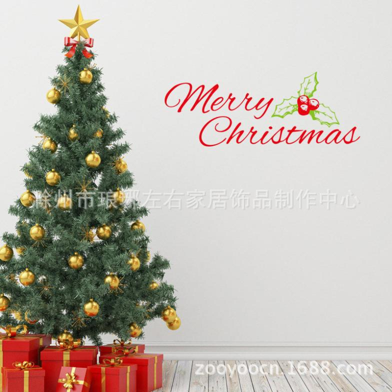 Merry Christmas Wall Stickers Home Decor Waterproof Removable