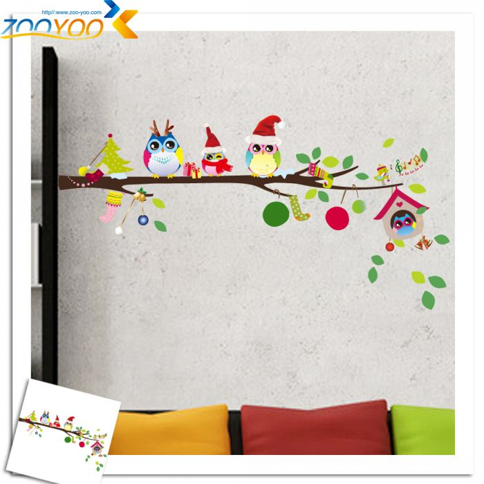 Owls Tree Branch Christmas Wall Stickers For Kids Rooms Living Room Removable PVC Wall Decals Home Decor