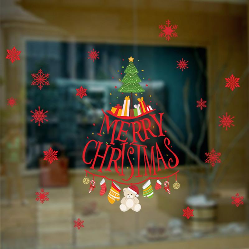Merry Christmas Snowflake Christmas Tree Wall Sticker