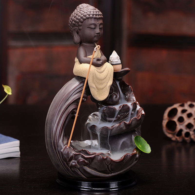 Home Decoration Ceramic Censer Smoke Backflow Incense Burner Bullet Incense Cones Burner Buddha Incense Aroma Burner Three Color